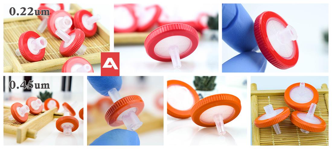 PTFE hydrophobic syringe fitler 0.22 0.45um  13 25mm